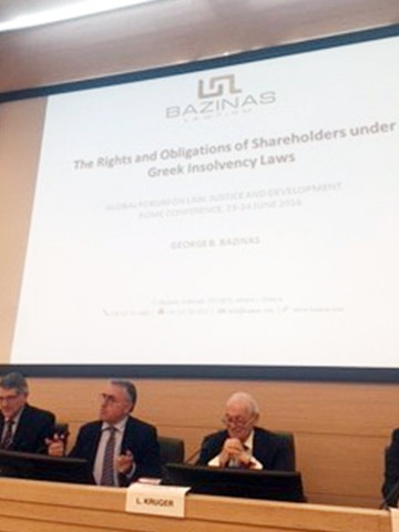 George Bazinas presented at the Community of Practice on Insolvency Conference jointly organized by the Bank of Italy and the University of Florence in Rome